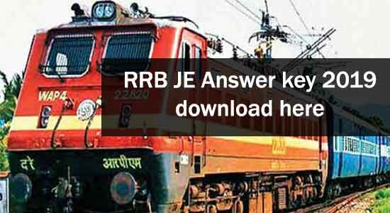 RRB JE Answer Key download