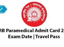 RRB Paramedical Admit Card