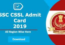 SSC CHSL Admit card 2019 Download