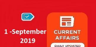 1 September Current Affairs