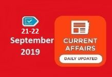 21-22 September Current Affairs