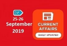 25-26 September Current Affairs