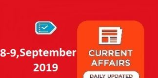 8-9 September Current Affairs