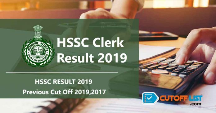 hssc clerk result cut off 2019