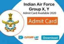 Indian Air Force Group X, Y 01/2021 Admit Card 2020 Available