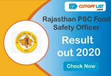 Rajasthan PSC Food Safety Officer Result out 2020