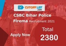 CSBC Constable Fireman Recruitment 2021