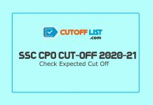 SSC CPO Cut Off List